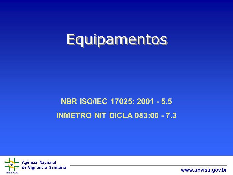 Agência Nacional de Vigilância Sanitária www.anvisa.gov.br Equipamentos NBR ISO/IEC 17025: 2001 - 5.5 INMETRO NIT DICLA 083:00 - 7.3