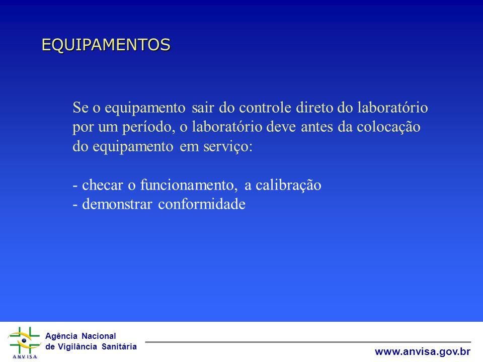 Agência Nacional de Vigilância Sanitária www.anvisa.gov.br EQUIPAMENTOS Se o equipamento sair do controle direto do laboratório por um período, o laboratório deve antes da colocação do equipamento em serviço: - checar o funcionamento, a calibração - demonstrar conformidade