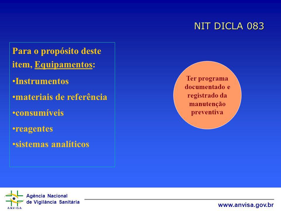 Agência Nacional de Vigilância Sanitária www.anvisa.gov.br NIT DICLA 083 Para o propósito deste item, Equipamentos: Instrumentos materiais de referênc