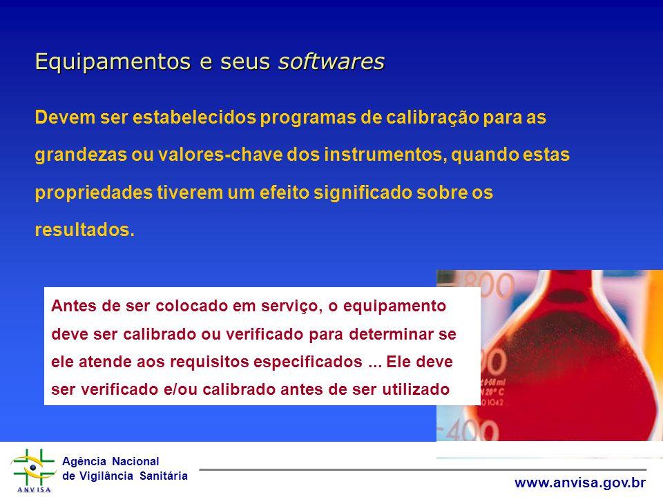 Agência Nacional de Vigilância Sanitária www.anvisa.gov.br Equipamentos e seus softwares Antes de ser colocado em serviço, o equipamento deve ser cali