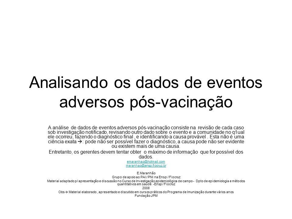 Analisando os dados de eventos adversos pós-vacinação A análise de dados de eventos adversos pós-vacinação consiste na revisão de cada caso sob invest