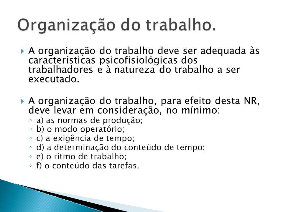  A organização do trabalho deve ser adequada às características psicofisiológicas dos trabalhadores e à natureza do trabalho a ser executado.