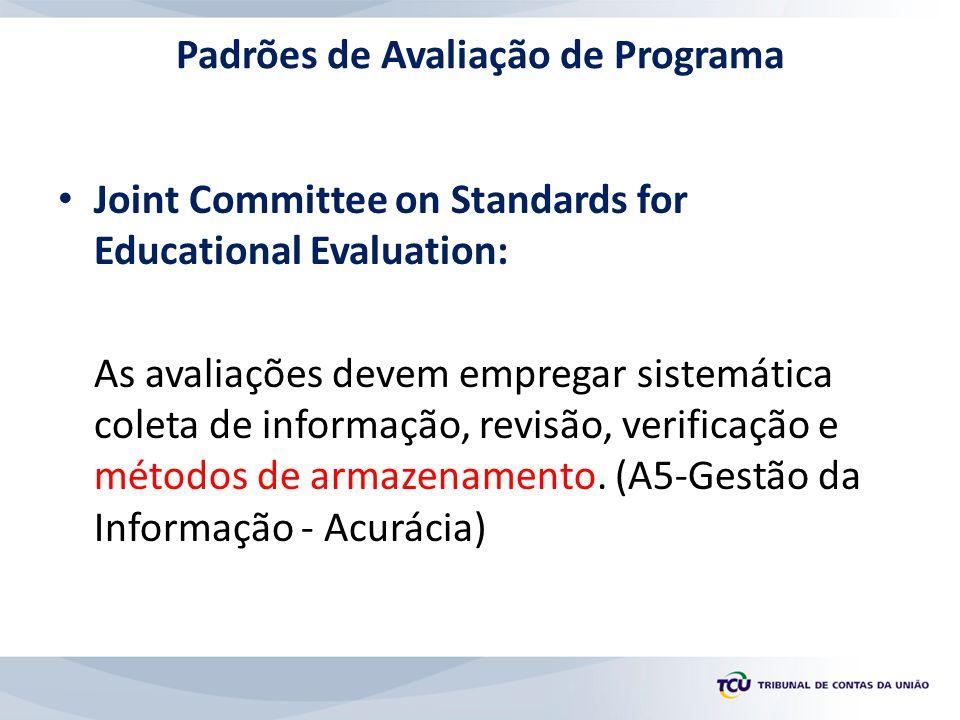 Padrões de Avaliação de Programa Joint Committee on Standards for Educational Evaluation: As avaliações devem empregar sistemática coleta de informação, revisão, verificação e métodos de armazenamento.