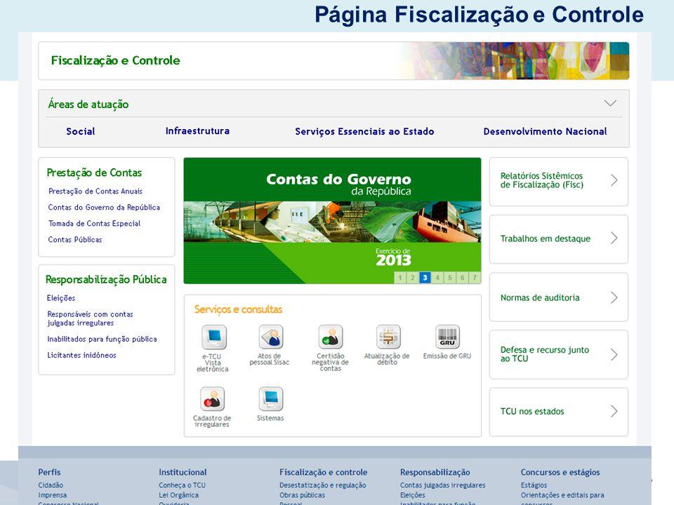 Página Fiscalização e Controle