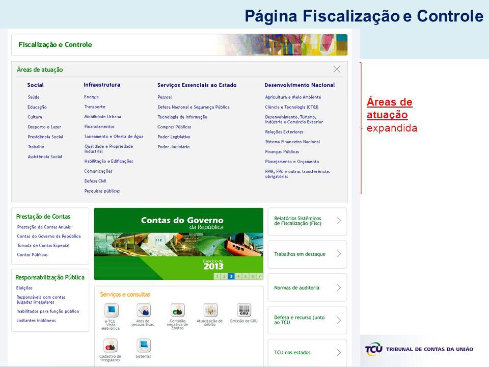 Áreas de atuação expandida Página Fiscalização e Controle