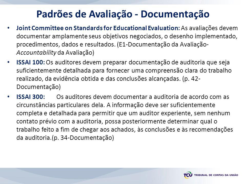 Padrões de Avaliação - Documentação Joint Committee on Standards for Educational Evaluation: As avaliações devem documentar amplamente seus objetivos negociados, o desenho implementado, procedimentos, dados e resultados.