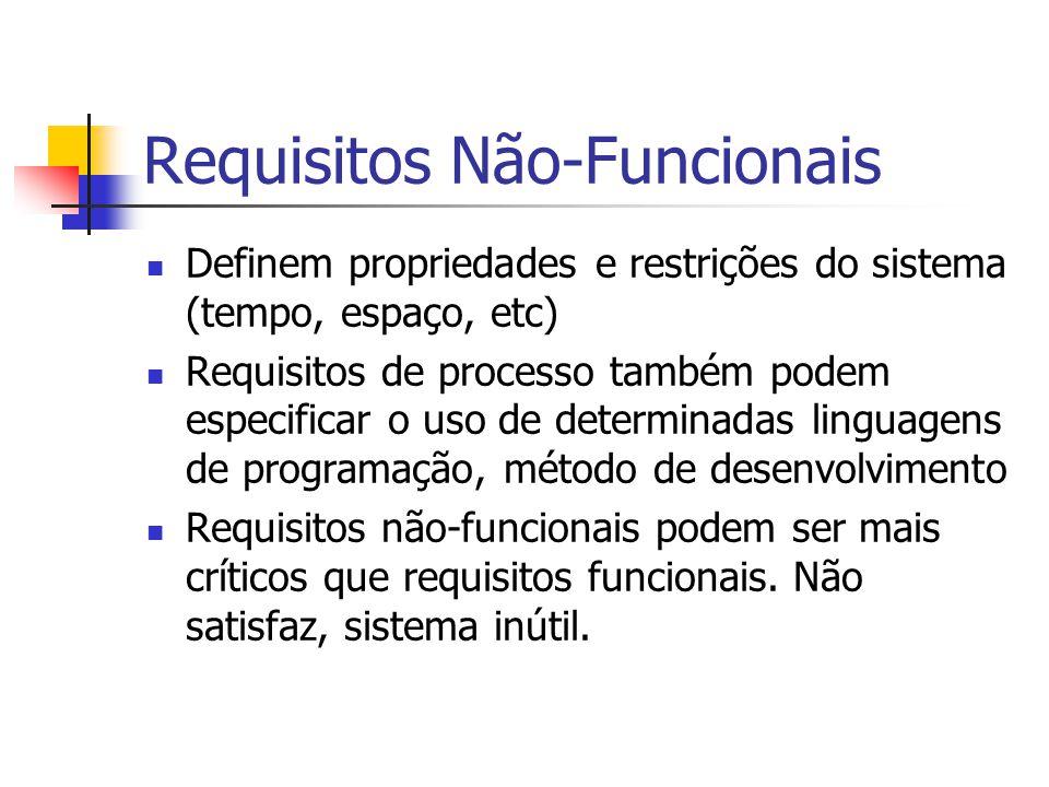 Requisitos Não-Funcionais Definem propriedades e restrições do sistema (tempo, espaço, etc) Requisitos de processo também podem especificar o uso de d