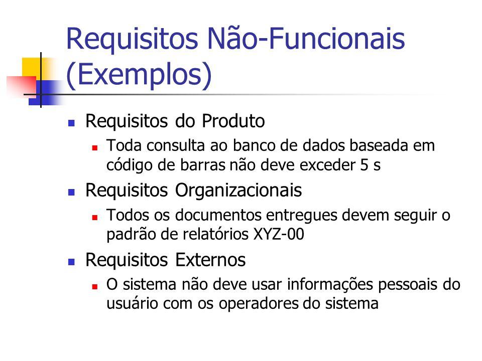 Requisitos Não-Funcionais (Exemplos) Requisitos do Produto Toda consulta ao banco de dados baseada em código de barras não deve exceder 5 s Requisitos