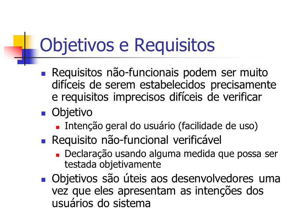 Objetivos e Requisitos Requisitos não-funcionais podem ser muito difíceis de serem estabelecidos precisamente e requisitos imprecisos difíceis de veri