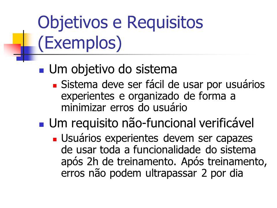 Objetivos e Requisitos (Exemplos) Um objetivo do sistema Sistema deve ser fácil de usar por usuários experientes e organizado de forma a minimizar err