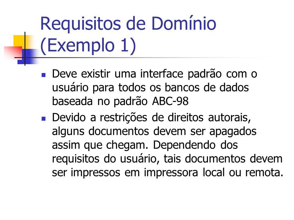 Requisitos de Domínio (Exemplo 1) Deve existir uma interface padrão com o usuário para todos os bancos de dados baseada no padrão ABC-98 Devido a rest