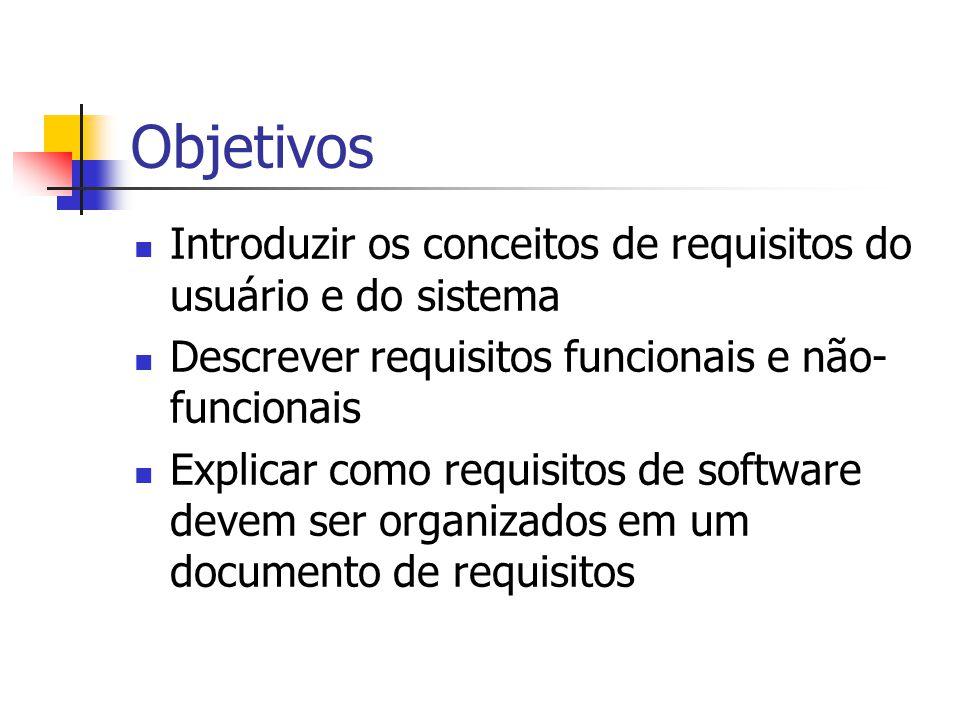 Objetivos Introduzir os conceitos de requisitos do usuário e do sistema Descrever requisitos funcionais e não- funcionais Explicar como requisitos de