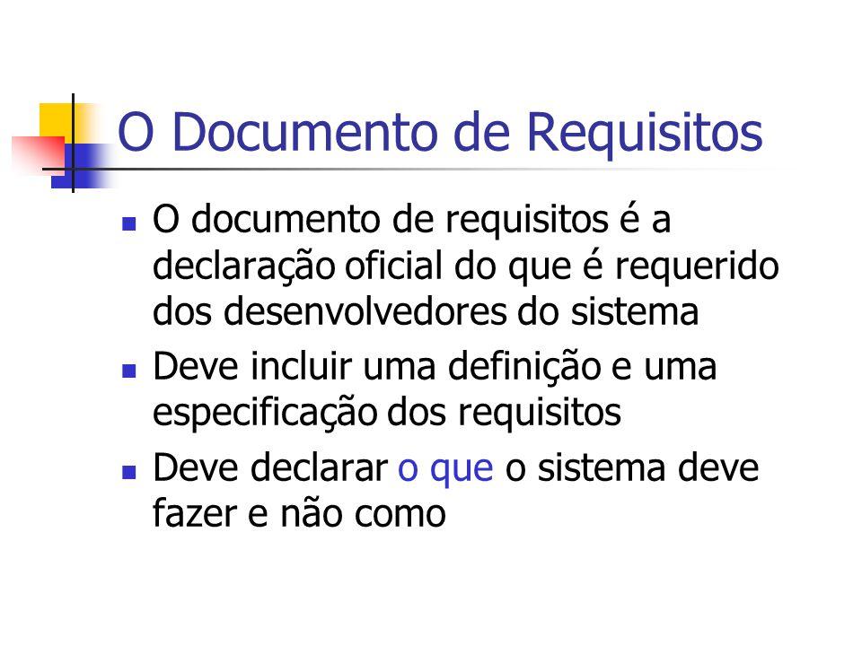 O Documento de Requisitos O documento de requisitos é a declaração oficial do que é requerido dos desenvolvedores do sistema Deve incluir uma definiçã