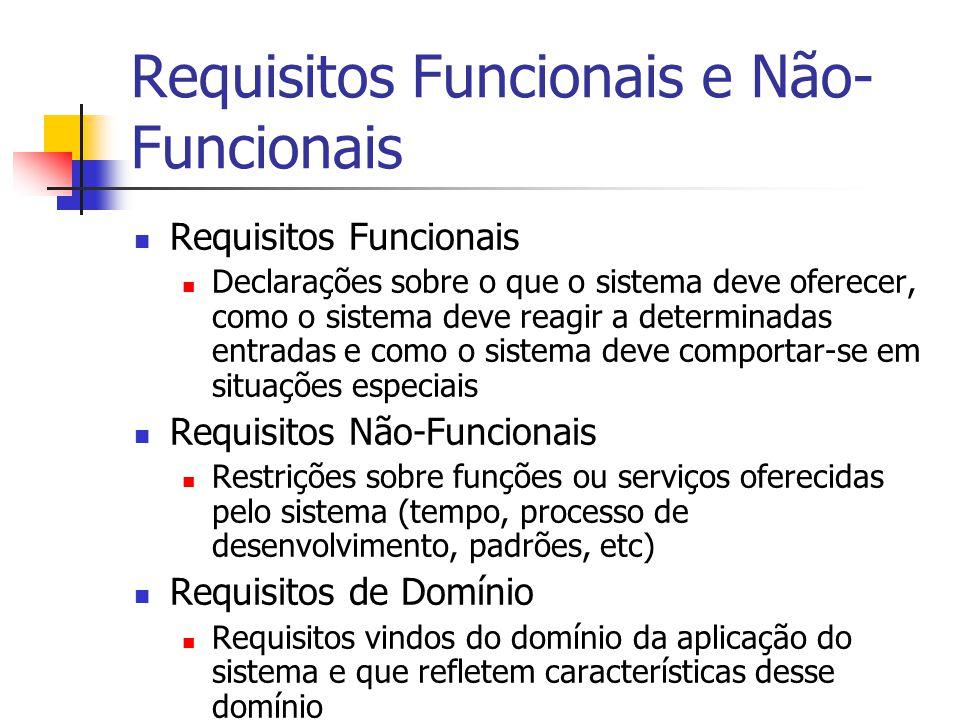 Requisitos Funcionais e Não- Funcionais Requisitos Funcionais Declarações sobre o que o sistema deve oferecer, como o sistema deve reagir a determinad