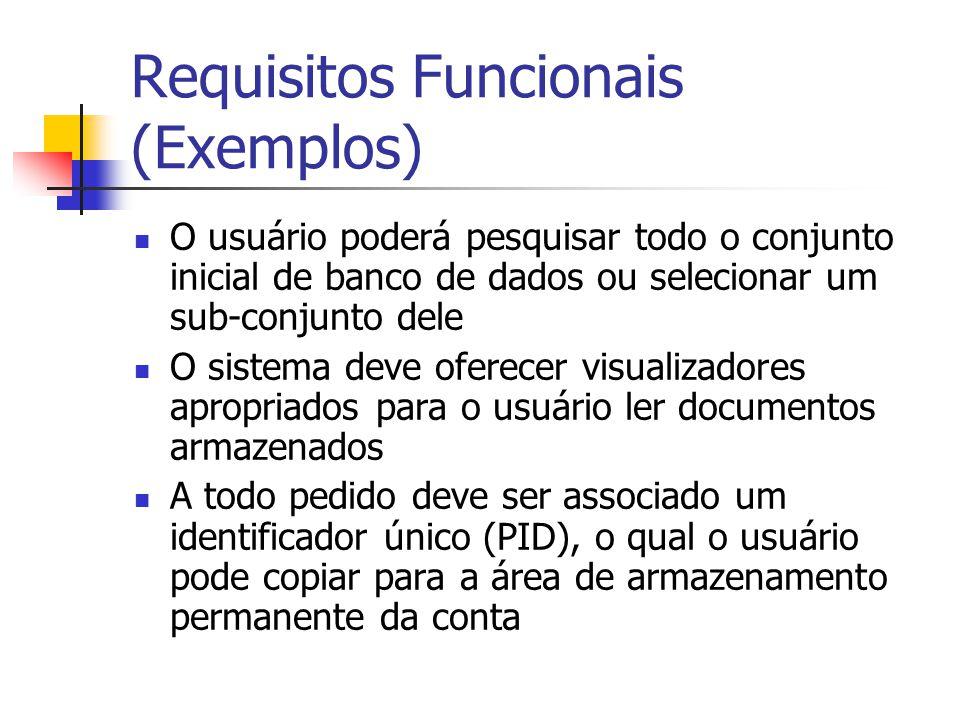 Requisitos Funcionais (Exemplos) O usuário poderá pesquisar todo o conjunto inicial de banco de dados ou selecionar um sub-conjunto dele O sistema dev