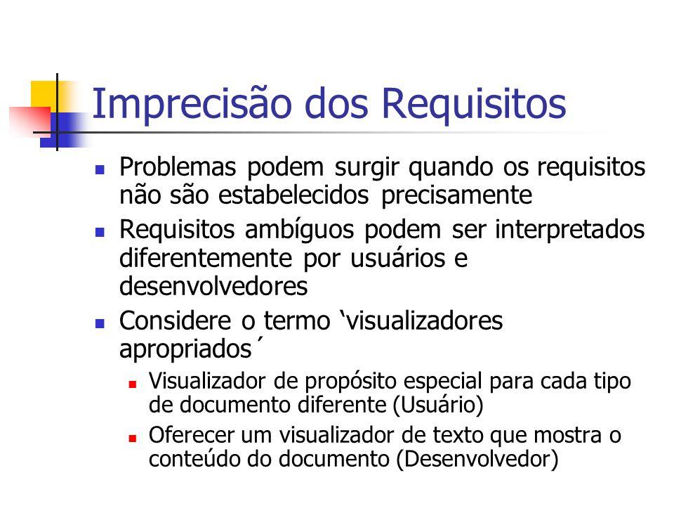 Imprecisão dos Requisitos Problemas podem surgir quando os requisitos não são estabelecidos precisamente Requisitos ambíguos podem ser interpretados d