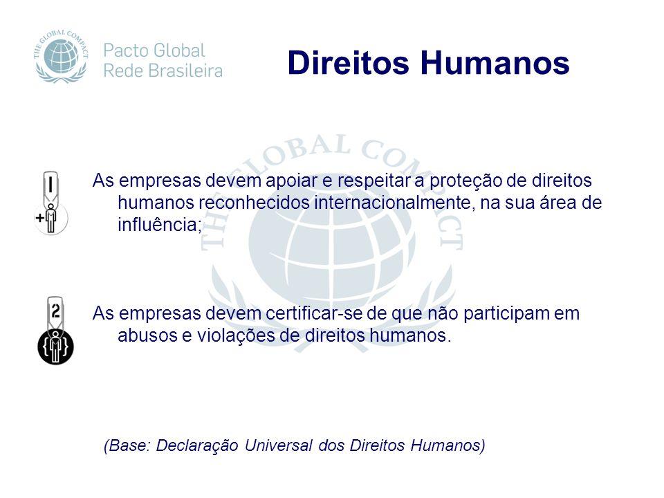 Direitos Humanos As empresas devem apoiar e respeitar a proteção de direitos humanos reconhecidos internacionalmente, na sua área de influência; As empresas devem certificar-se de que não participam em abusos e violações de direitos humanos.