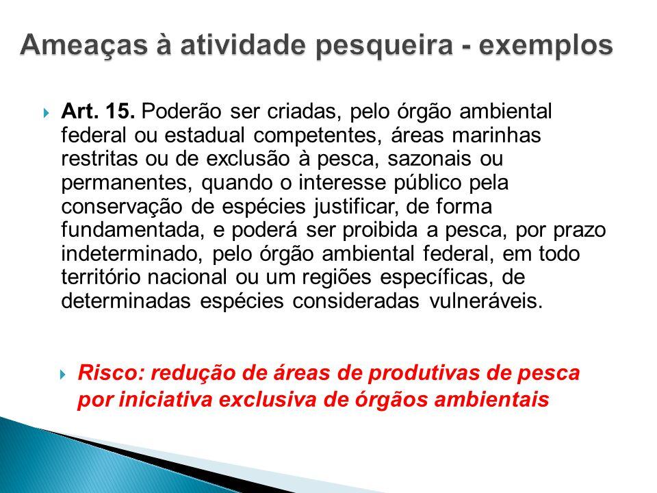  Art. 15. Poderão ser criadas, pelo órgão ambiental federal ou estadual competentes, áreas marinhas restritas ou de exclusão à pesca, sazonais ou per