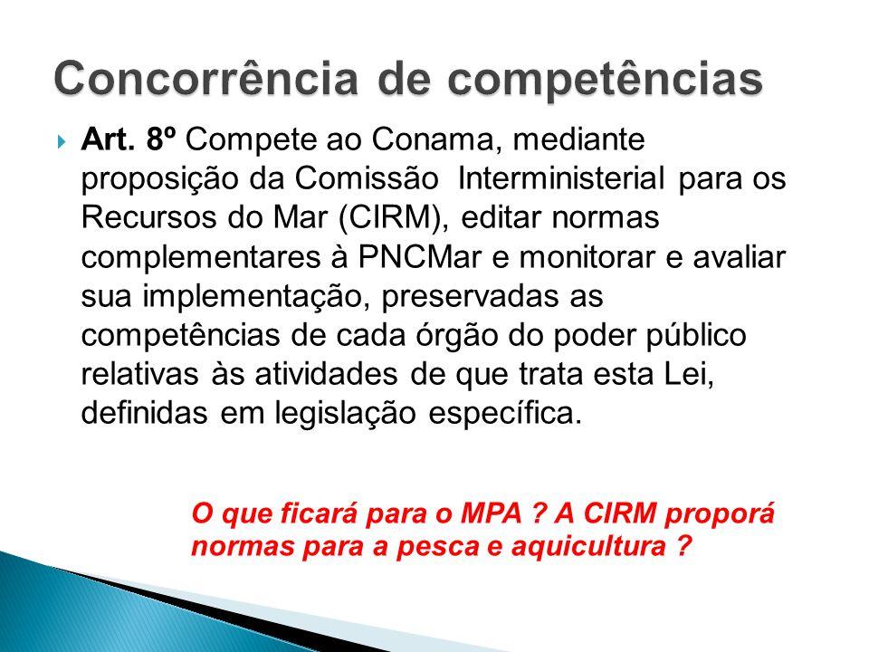  Art. 8º Compete ao Conama, mediante proposição da Comissão Interministerial para os Recursos do Mar (CIRM), editar normas complementares à PNCMar e