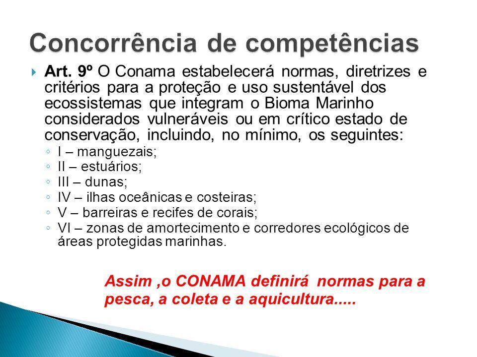  Art. 9º O Conama estabelecerá normas, diretrizes e critérios para a proteção e uso sustentável dos ecossistemas que integram o Bioma Marinho conside