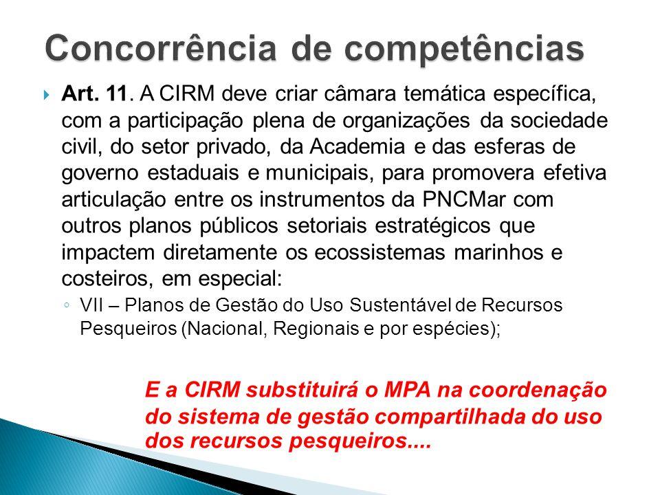  Art. 11. A CIRM deve criar câmara temática específica, com a participação plena de organizações da sociedade civil, do setor privado, da Academia e