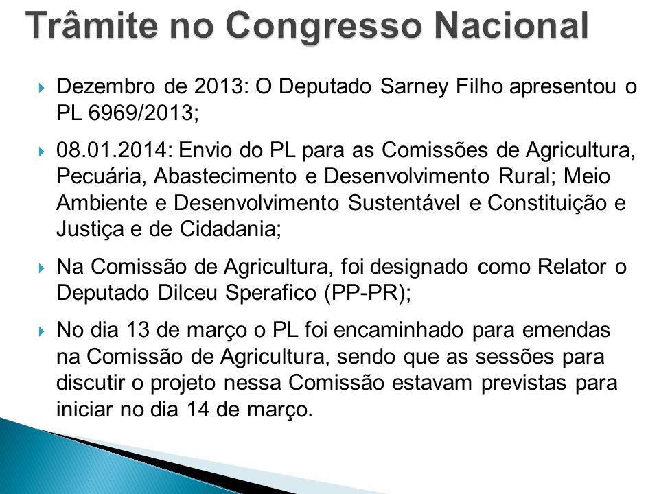  Dezembro de 2013: O Deputado Sarney Filho apresentou o PL 6969/2013;  08.01.2014: Envio do PL para as Comissões de Agricultura, Pecuária, Abastecim