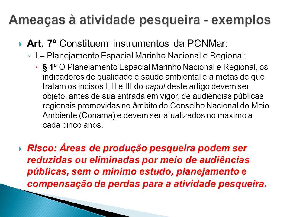  Art. 7º Constituem instrumentos da PCNMar: ◦ I – Planejamento Espacial Marinho Nacional e Regional;  § 1º O Planejamento Espacial Marinho Nacional