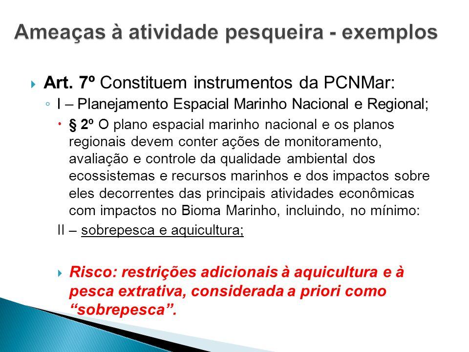  Art. 7º Constituem instrumentos da PCNMar: ◦ I – Planejamento Espacial Marinho Nacional e Regional;  § 2º O plano espacial marinho nacional e os pl