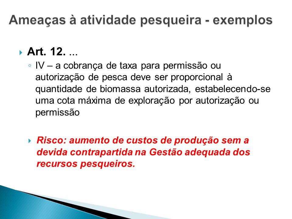  Art. 12.... ◦ IV – a cobrança de taxa para permissão ou autorização de pesca deve ser proporcional à quantidade de biomassa autorizada, estabelecend