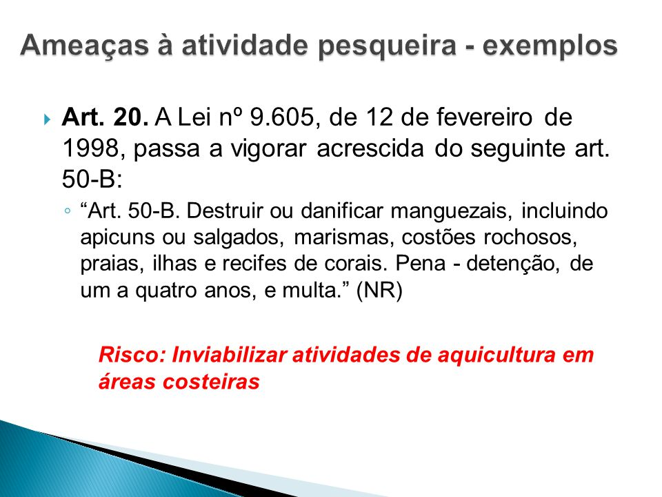 " Art. 20. A Lei nº 9.605, de 12 de fevereiro de 1998, passa a vigorar acrescida do seguinte art. 50-B: ◦ ""Art. 50-B. Destruir ou danificar manguezais"