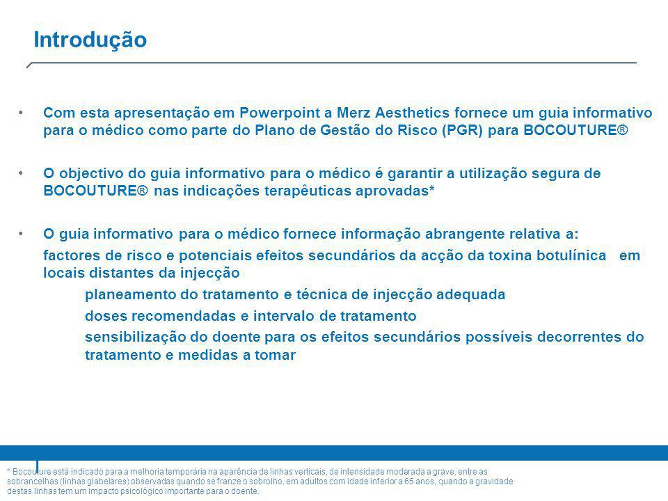 Introdução Com esta apresentação em Powerpoint a Merz Aesthetics fornece um guia informativo para o médico como parte do Plano de Gestão do Risco (PGR