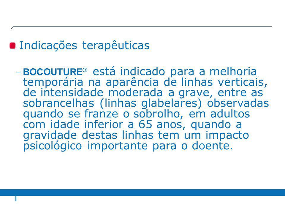 Indicações terapêuticas – BOCOUTURE ® está indicado para a melhoria temporária na aparência de linhas verticais, de intensidade moderada a grave, entr