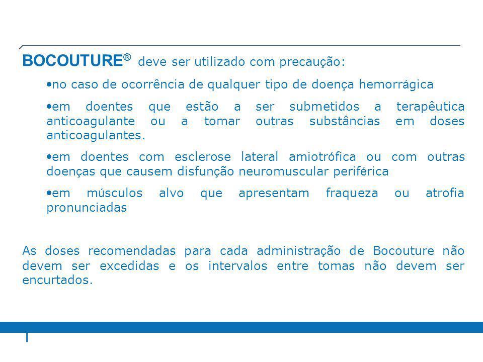 Doses recomendadas As doses unitárias recomendadas para Bocouture não são permutáveis com as de outras preparações de toxina botulínica.