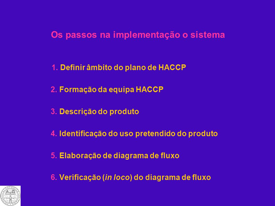 Os passos na implementação o sistema 1.Definir âmbito do plano de HACCP 2.