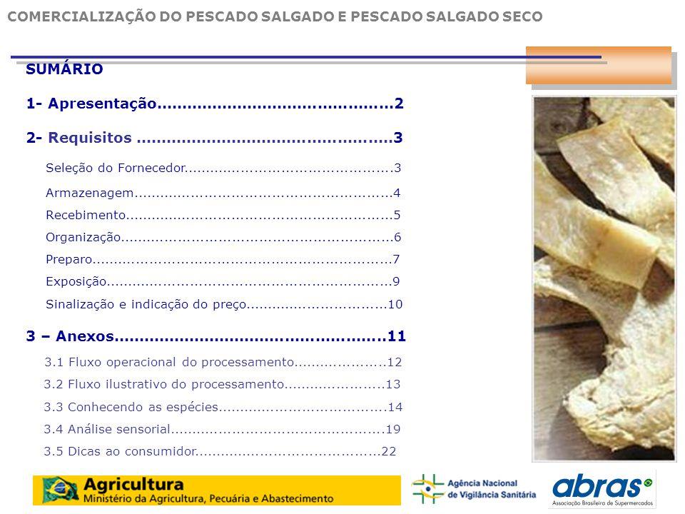 13 3.1 FLUXO OPERACIONAL DO PROCESSAMENTO RECEBIMENTO DA MATÉRIA - PRIMA DESCONGELAMENTO ABERTURA DO VENTRE (espalmado) TOALETE PRODUTO ACABADO 2ª SALGA (seca) 1ª SALGA (úmida) CALIBRAÇÃO E CLASSIFICAÇÃO EMBALAGEM ARMAZENAGEM EXPOSIÇÃO 12 COMERCIALIZAÇÃO DO PESCADO SALGADO E PESCADO SALGADO SECO