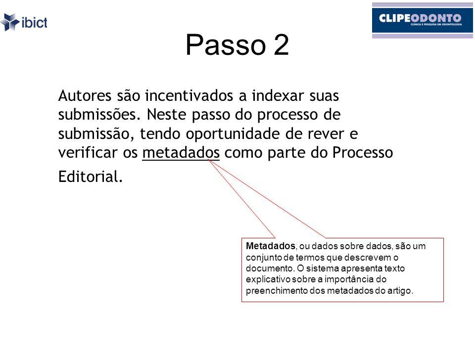 Passo 2 Autores são incentivados a indexar suas submissões.