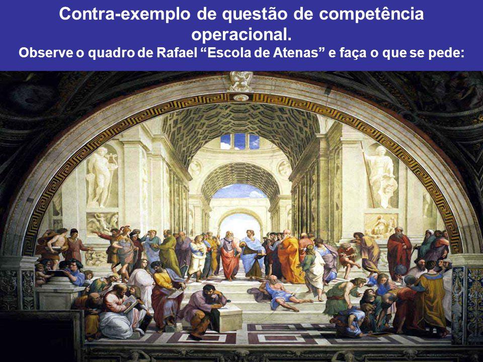 """Contra-exemplo de questão de competência operacional. Observe o quadro de Rafael """"Escola de Atenas"""" e faça o que se pede:"""