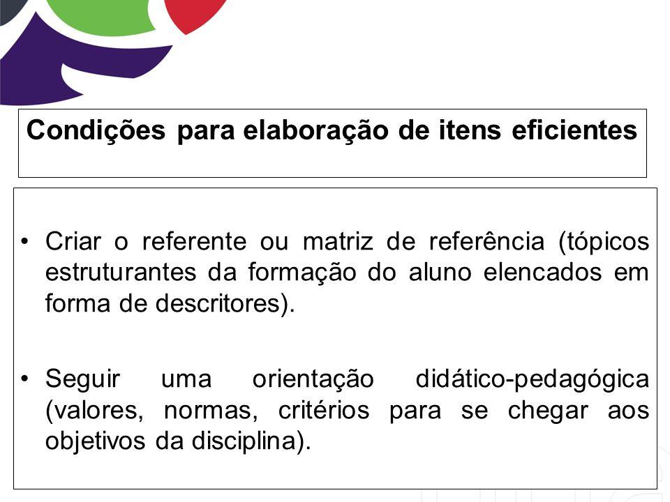 Condições para elaboração de itens eficientes Criar o referente ou matriz de referência (tópicos estruturantes da formação do aluno elencados em forma