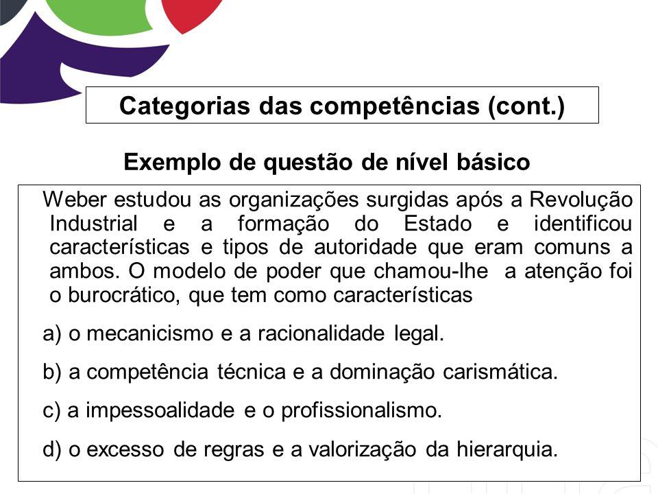 Categorias das competências (cont.) Weber estudou as organizações surgidas após a Revolução Industrial e a formação do Estado e identificou caracterís