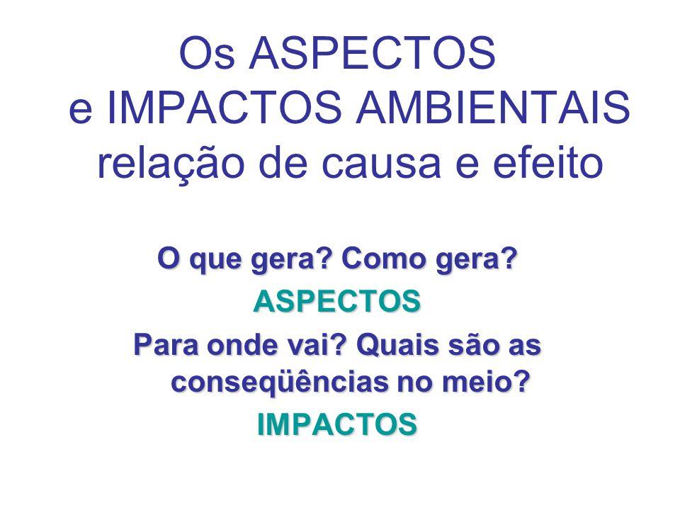 Os ASPECTOS e IMPACTOS AMBIENTAIS relação de causa e efeito O que gera.