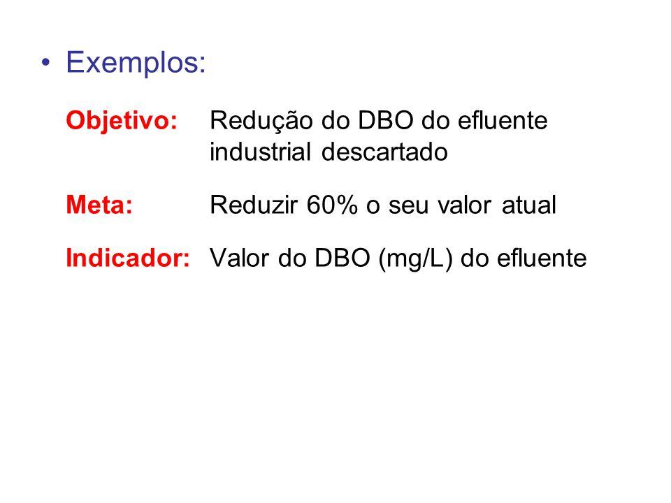 Exemplos: Objetivo:Redução do DBO do efluente industrial descartado Meta:Reduzir 60% o seu valor atual Indicador:Valor do DBO (mg/L) do efluente