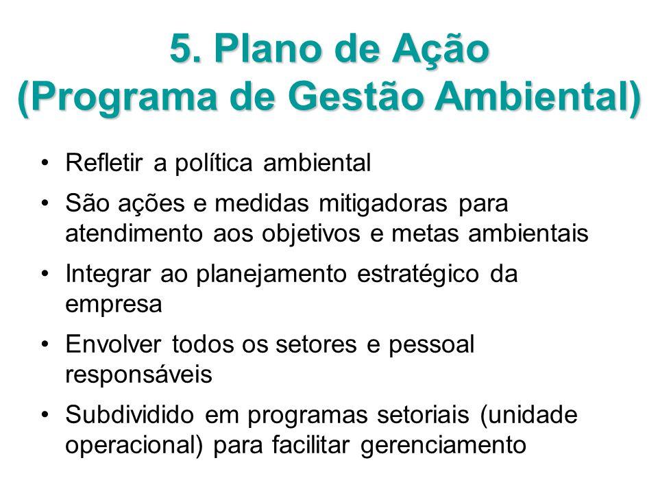 5. Plano de Ação (Programa de Gestão Ambiental) Refletir a política ambiental São ações e medidas mitigadoras para atendimento aos objetivos e metas a