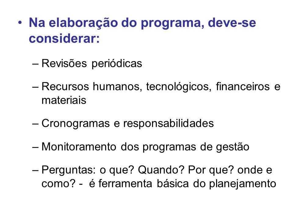 Na elaboração do programa, deve-se considerar: –Revisões periódicas –Recursos humanos, tecnológicos, financeiros e materiais –Cronogramas e responsabilidades –Monitoramento dos programas de gestão –Perguntas: o que.