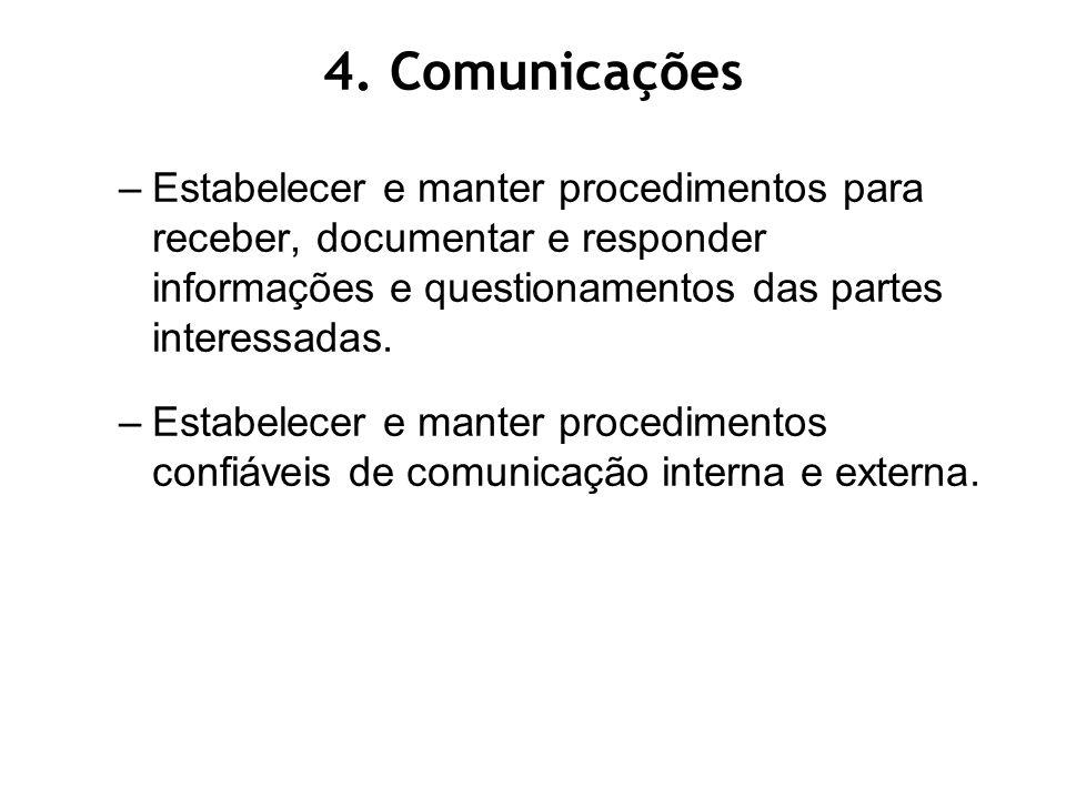 –Estabelecer e manter procedimentos para receber, documentar e responder informações e questionamentos das partes interessadas.