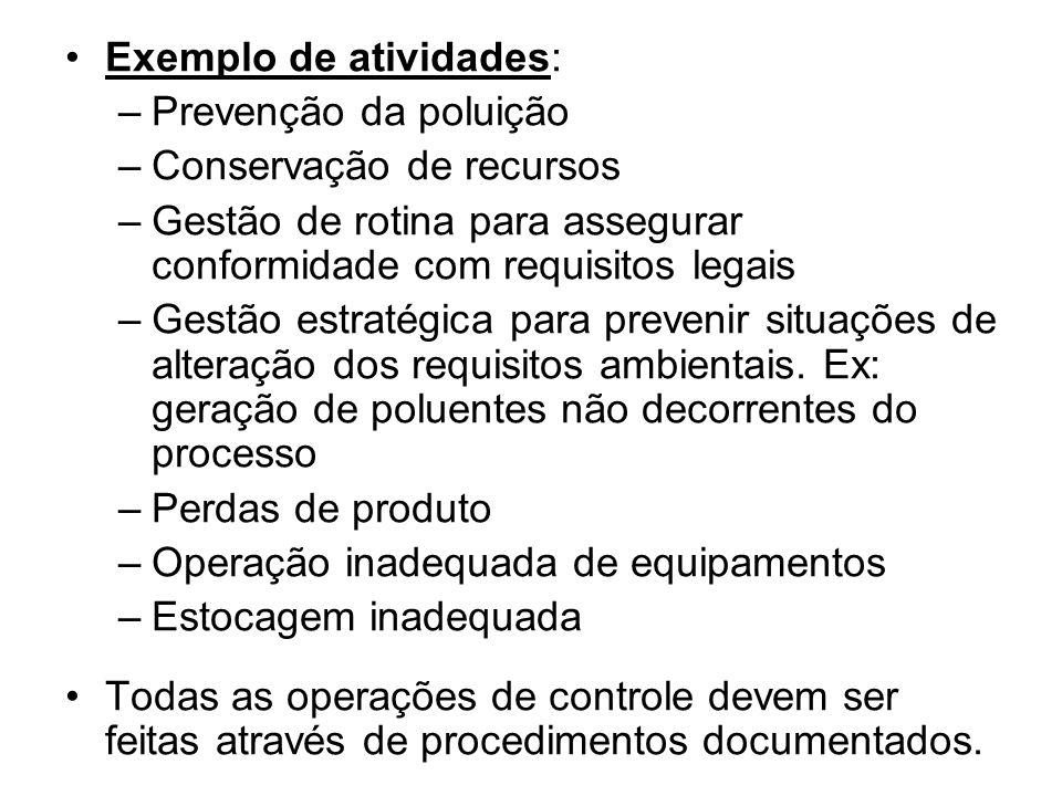 Exemplo de atividades: –Prevenção da poluição –Conservação de recursos –Gestão de rotina para assegurar conformidade com requisitos legais –Gestão estratégica para prevenir situações de alteração dos requisitos ambientais.