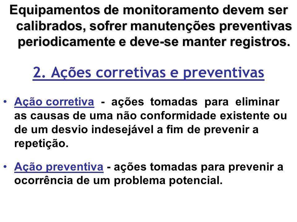 Equipamentos de monitoramento devem ser calibrados, sofrer manutenções preventivas periodicamente e deve-se manter registros.