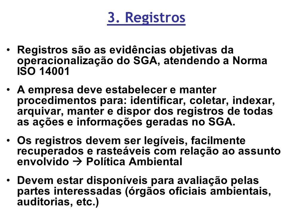 3. Registros Registros são as evidências objetivas da operacionalização do SGA, atendendo a Norma ISO 14001 A empresa deve estabelecer e manter proced