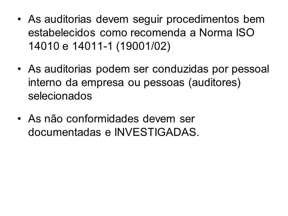 As auditorias devem seguir procedimentos bem estabelecidos como recomenda a Norma ISO 14010 e 14011-1 (19001/02) As auditorias podem ser conduzidas por pessoal interno da empresa ou pessoas (auditores) selecionados As não conformidades devem ser documentadas e INVESTIGADAS.