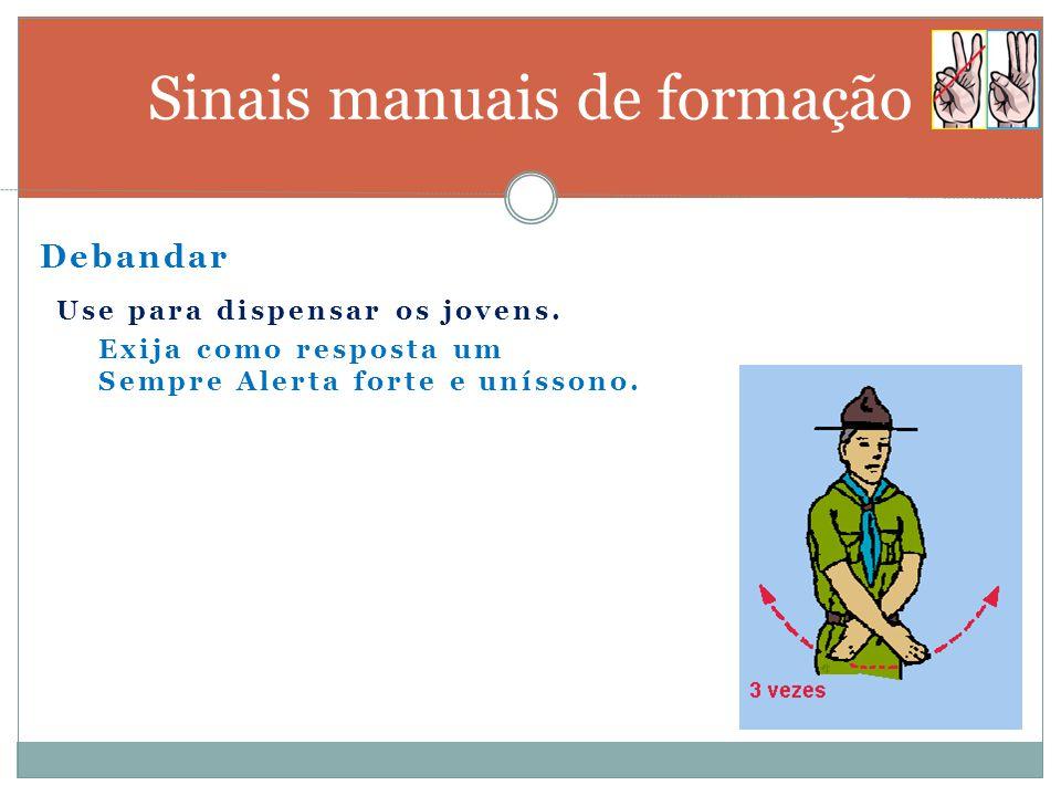 Fila indiana Sinais manuais de formação Use para formar uma fila única: geralmente por patrulhas.