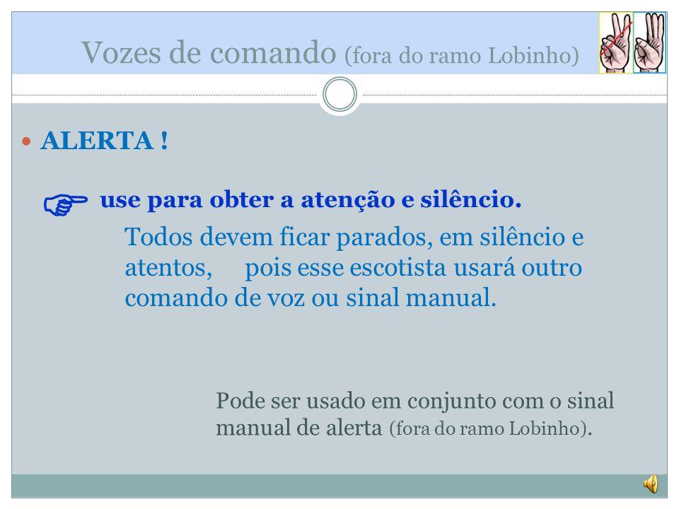 Vozes de comando (fora do ramo Lobinho) ALERTA .use para obter a atenção e silêncio.